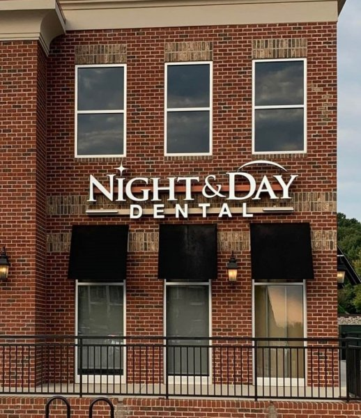 Night & Day Dental of Cornelius, NC -- Signage for Storefront