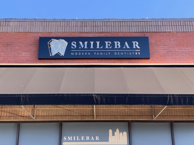 Smile Bar -- Cabinet Sign with Push Thru Acrylic Letters/Logo