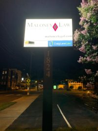 Maloney Law of Charlotte - New LED Lights in existing Pole/Cabinet Sign