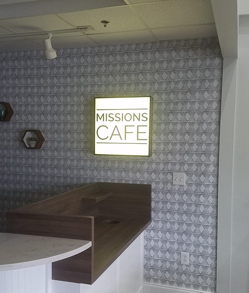 Interior Feature Wall Sign for First Baptist Matthews / Missions Cafe