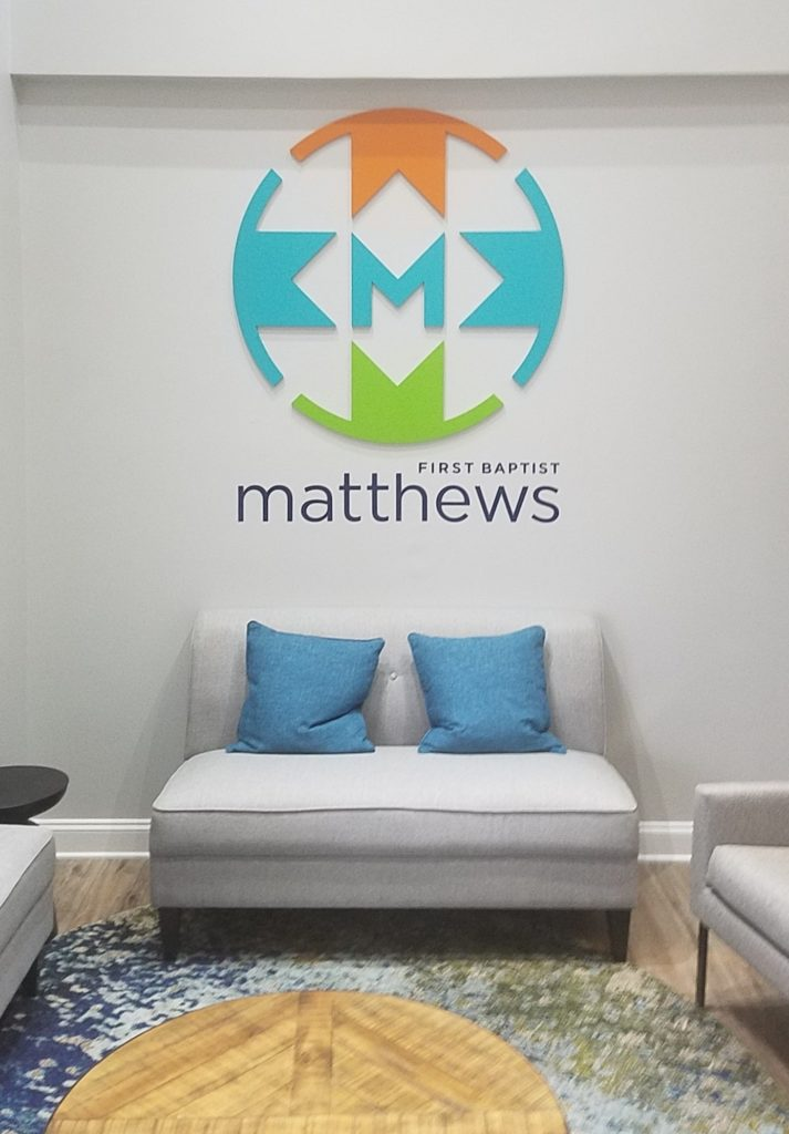 Interior Feature Wall Sign for First Baptist Matthews Church