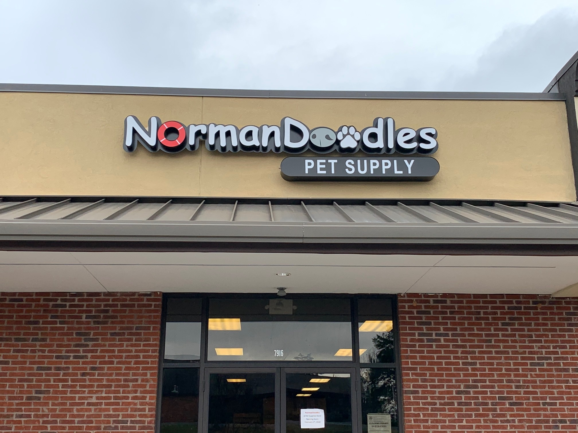 Channel Letter Sign for Norman Doodles Pet Supply of Denver, NC