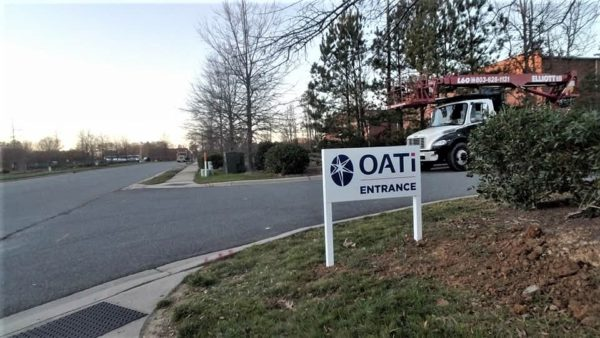 OATi Post and Panel Streetside Sign with Vinyl Print Graphics